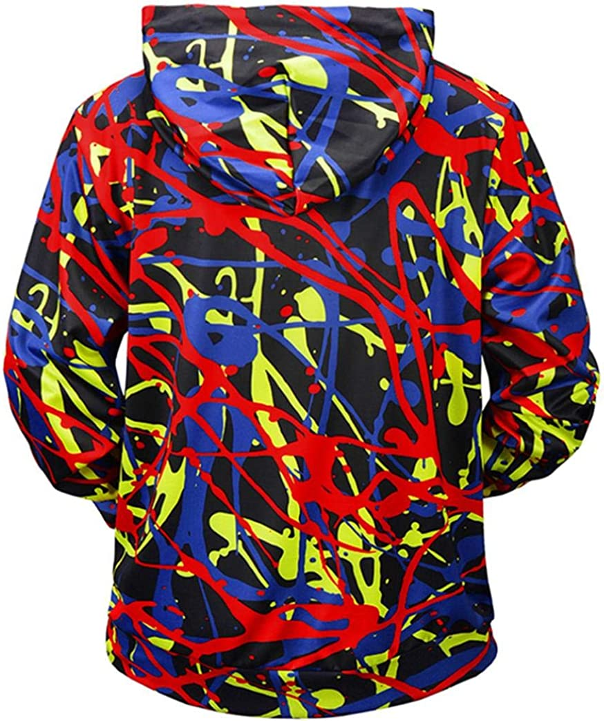 Malbaba-Men Autumn Winter Pullover Casual 3D Printed Graffiti Loose Long Sleeve Hoodie Top Blouse