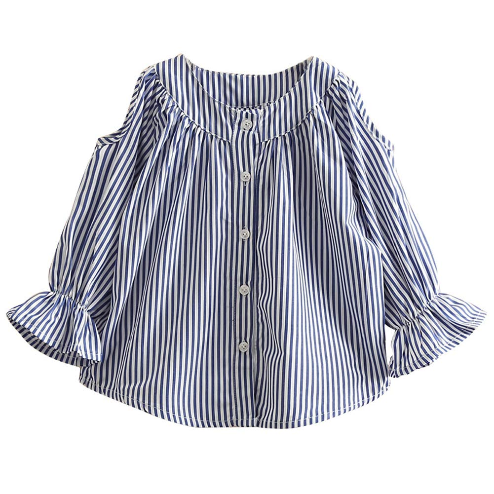 DinQ Baby Clothes Girls Long-Sleeved Striped Shirt Spring New Children Girls Clothing Wild Blouse 2-14 Years Old