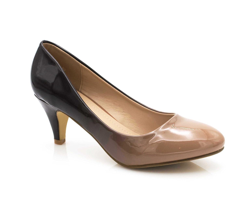Fashion Shoes - Escarpin Femme Vernis - Chaussures Bicolore Effet Dégradé Dames - Talon Conique Hauteur Moyen 6CM - Confort Mode