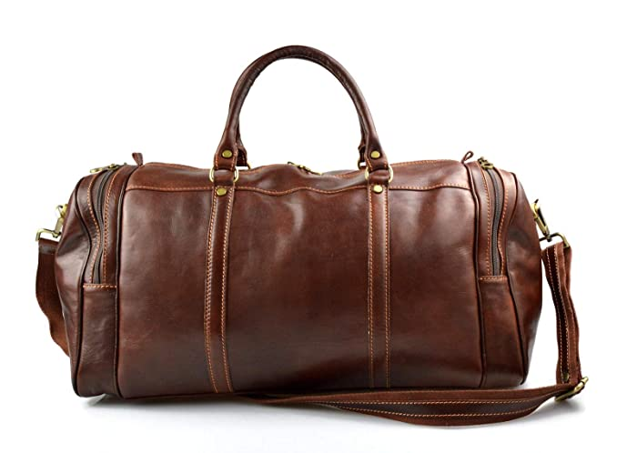 b8dfed41b5d Image Unavailable. Image not available for. Color  Mens leather duffle bag  brown shoulder bag travel bag luggage weekender carryon cabin bag gym  leather