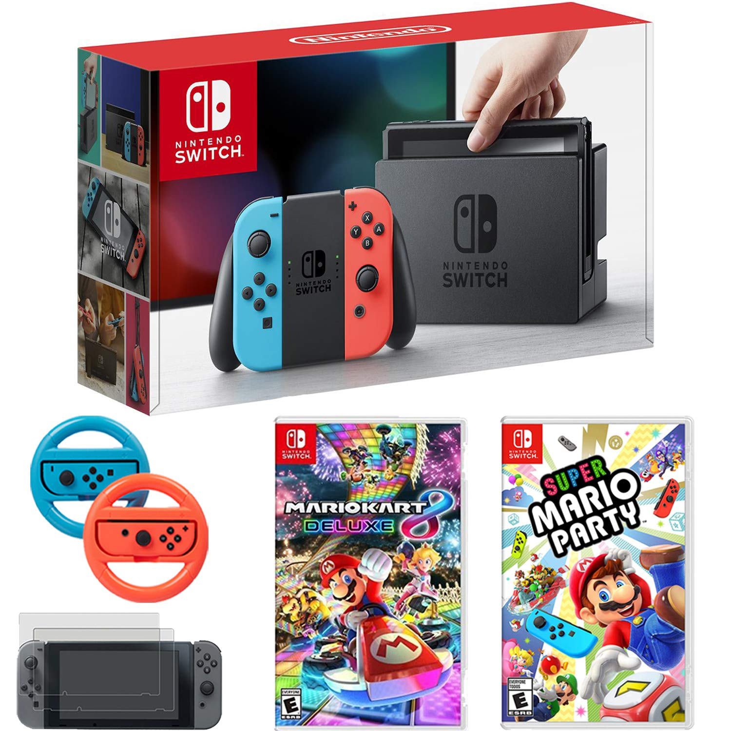 Nintendo Switch Console Blue/Red Joy Con + Mario Kart 8 Deluxe, Super Mario Party & More
