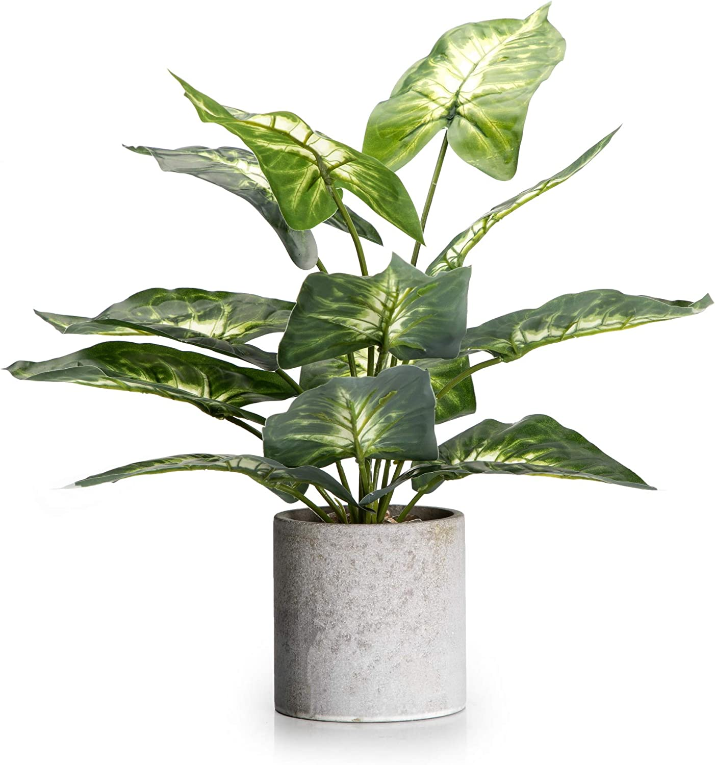 "Velener 15"" Artificial Potted Green Leaf Plant in Pot for Desk Top Decor (Taro Leaf)"