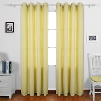 Deconovo Pale Yellow Curtains 95 Recycled Cotton Curtains For Bedroom 52 W  X 95 L Yellow