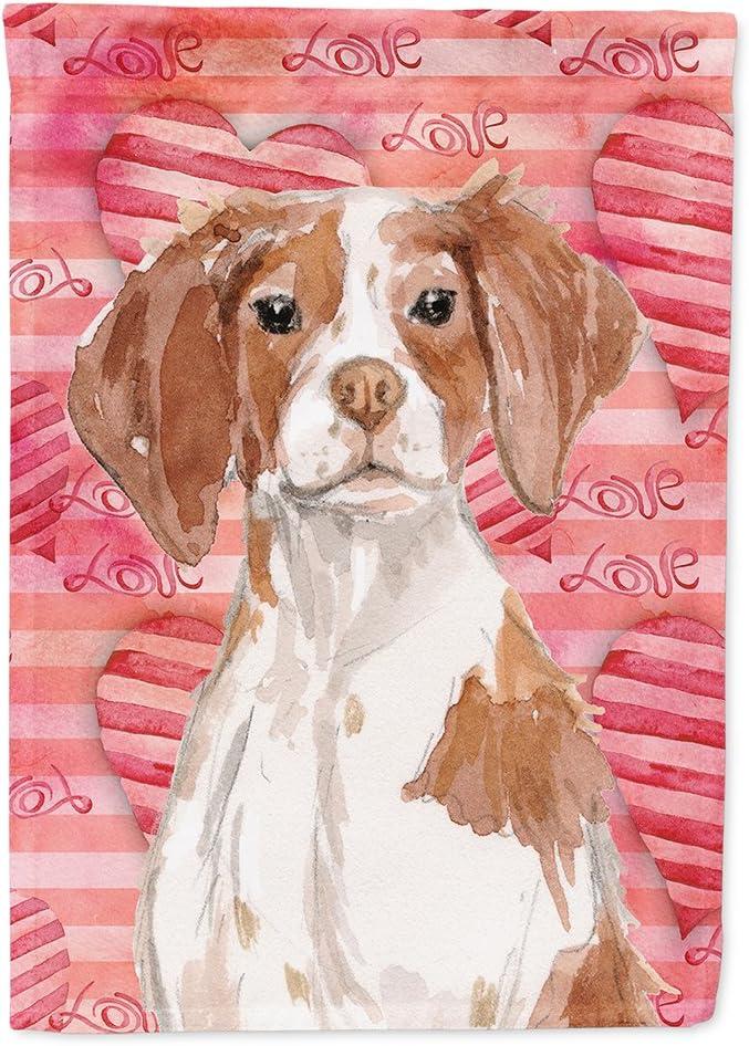 Caroline's Treasures BB9469GF Brittany Spaniel Love Flag Garden Size, Small, Multicolor