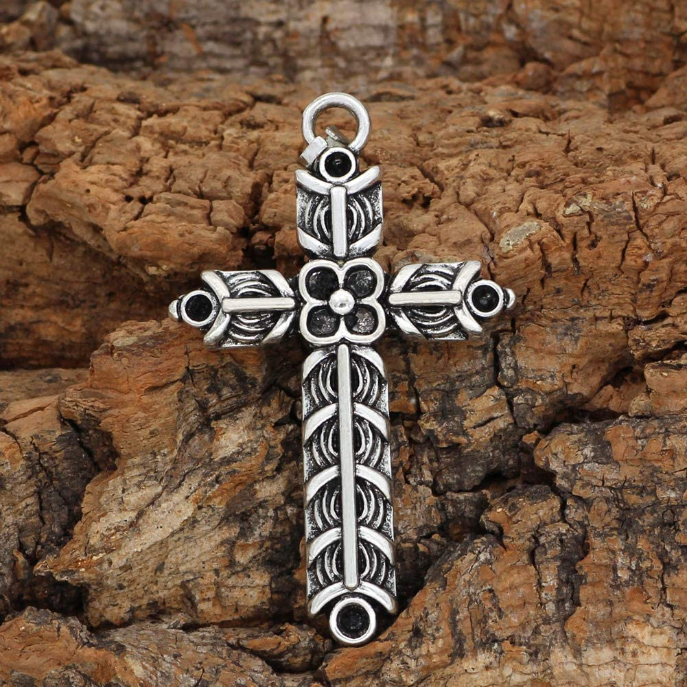 GuoShuang Nordic Viking Athelstans Cross Ragnar Amulet Necklace Double Side