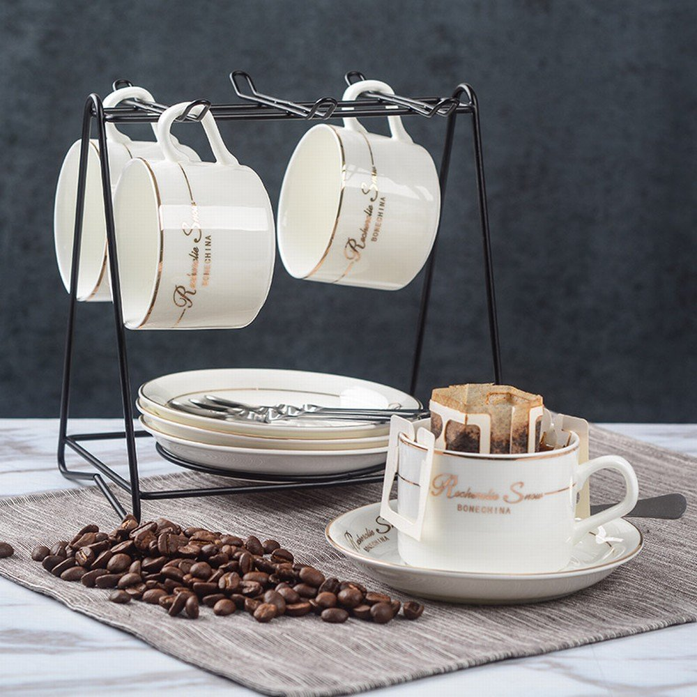 DHG European-Style Ceramic Coffee Cup Set Creative and Simple Household Coffee Cup 6-Piece Set,B by DHG