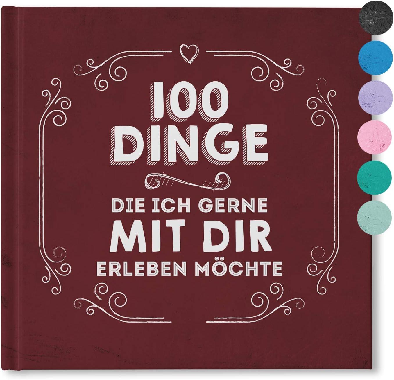 Chalkboard bordeaux Partnergeschenk 100 Dinge,die ich gerne mit Dir erleben m/öchte 100 Dinge Buch