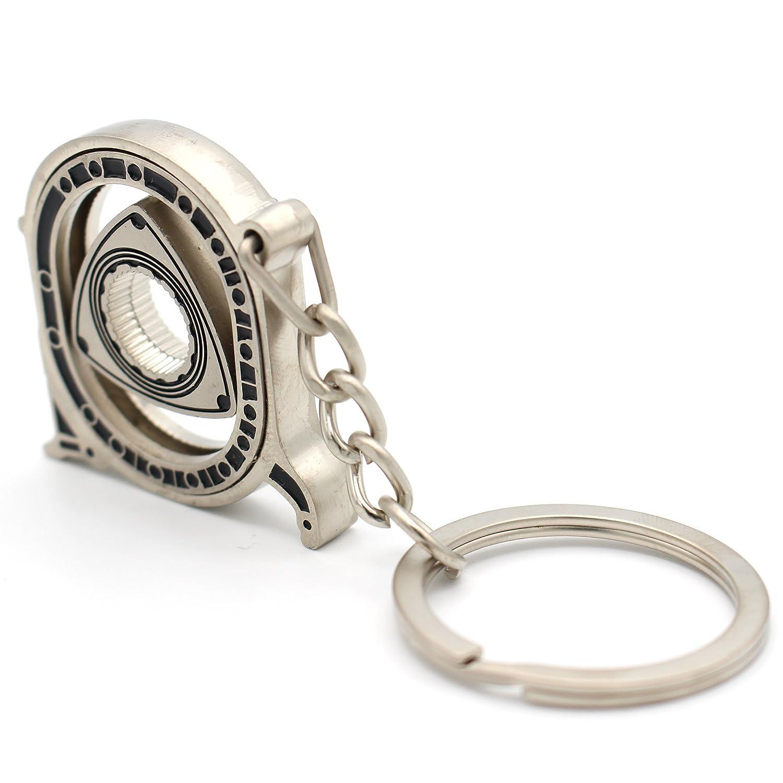 VmG-Store Rotor argento opaco portachiavi con motore a pistone circolare mobile
