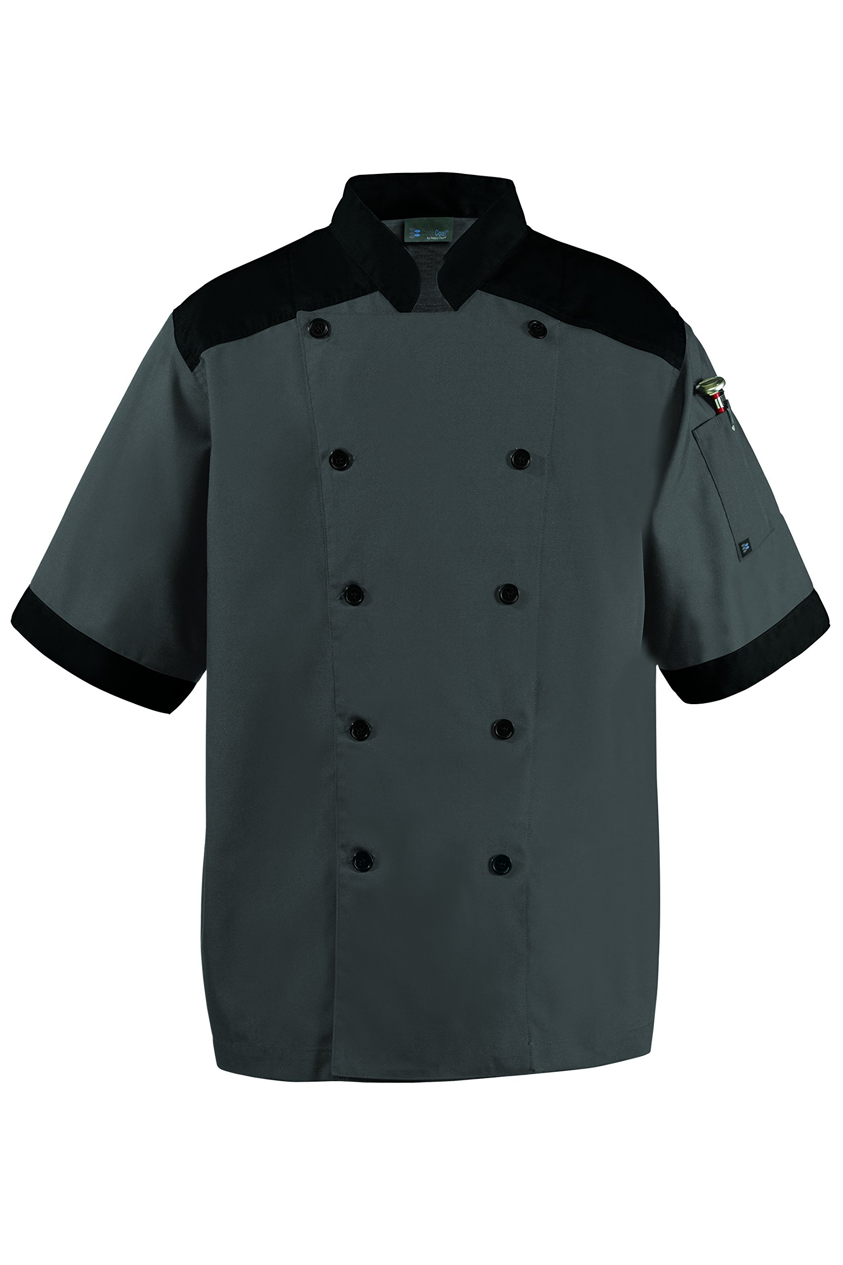 CookCool Top Trim Chef Coat Large Charcoal by Happy Chef