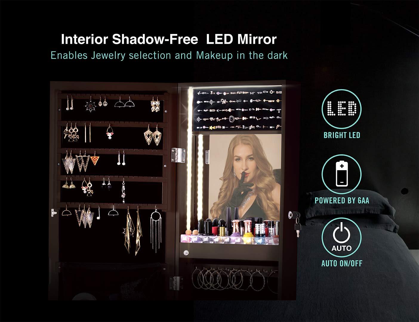 Large Storage Organizer w//Drawers LUXFURNI LED Light Jewelry Cabinet Standing Mirror Makeup Lockable Armoire espresso