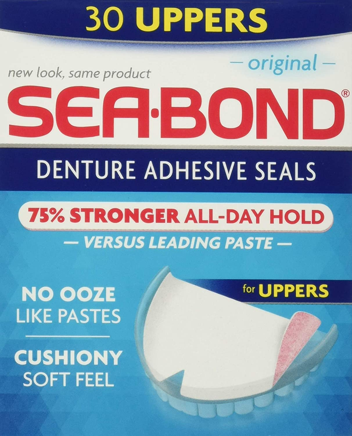Sea Bond Secure Denture Adhesive Seals, Original Uppers, Zinc Free, All Day Hold, Mess Free, 30 Count : Denture Care Product : Beauty