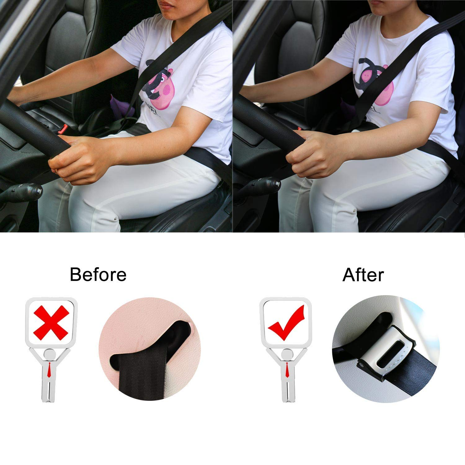 JUSHACHENGTA Car Seat Belt Clip,Seatbelt Adjuster,4pcs Universal Auto Vehicle Seat Belt Adjuster Clip for Kids and Adults-Silver