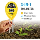 Atree Soil pH Meter, 3-in-1 Soil Tester Kits with Moisture,Light and PH Test for Garden, Farm, Lawn, Indoor & Outdoor (No Battery Needed) (Yellow)
