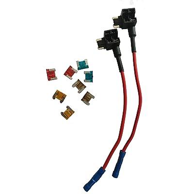 KOLACEN Automotive Car Truck 2 Pieces 16 Gauge Add-a-Circuit Fuse TAP Adapter for Low-Profile Mini Blade Type Fuse + 8 Pieces Low Profile Mini Fuse 5Apm 7.5Apm 10Apm 15Apm: Automotive