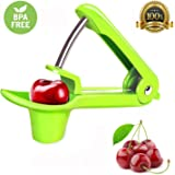 Cherry Pitter– Tekcast Olive and Cherry Pitter Remover Stoner Tool with Food-Grade Silicone Cup, Space-Saving Lock Design and Lengthened Splatter Shield Dishwasher Safe