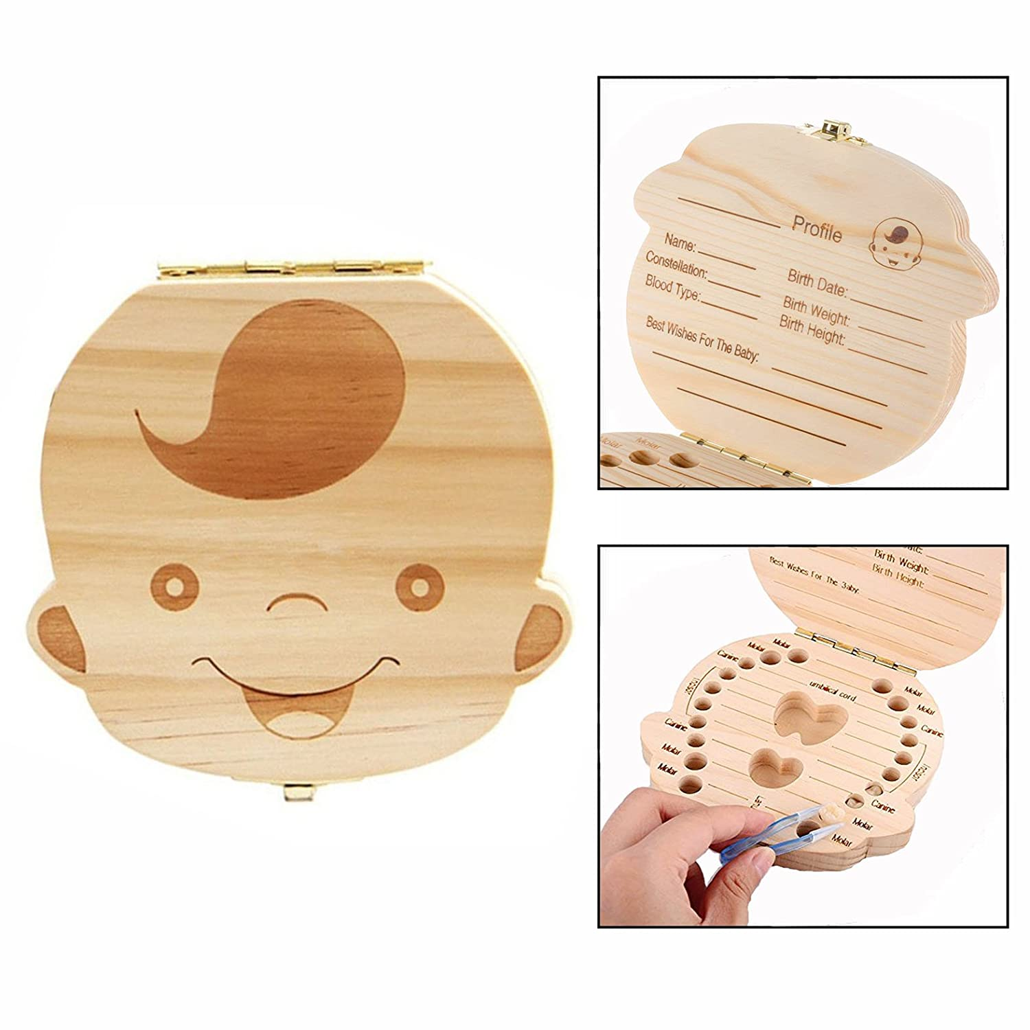 1X Lovely Baby Teeth Save Box Organizer Tooth Collection Souvenir Case Wooden Handmade Keepsake Durable 12.5 * 12.3 * 3 cm (Girl's) Txyk