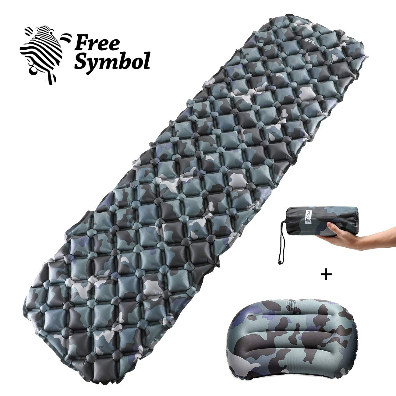 Ultralight Inflatable Camping Air Mattress Mat Sleeping Roll Pad Hiking w//Pillow