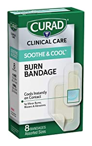 CURAD Soothe & Cool Burn Bandages, Instant Cooling, Assorted Sizes, 8 Count