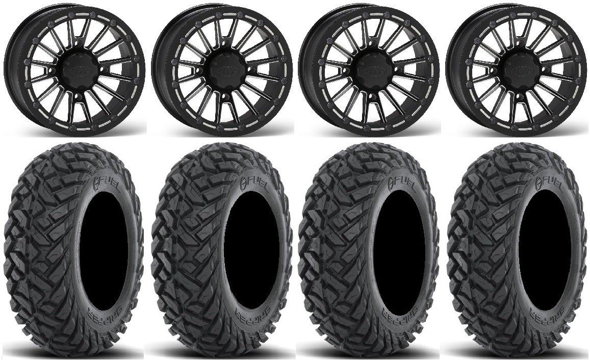 Bundle - 9 Items: ITP SD Beadlock 15'' Wheels Milled 30'' Gripper Tires [4x156 Bolt Pattern 10mmx1.25 Lug Kit]