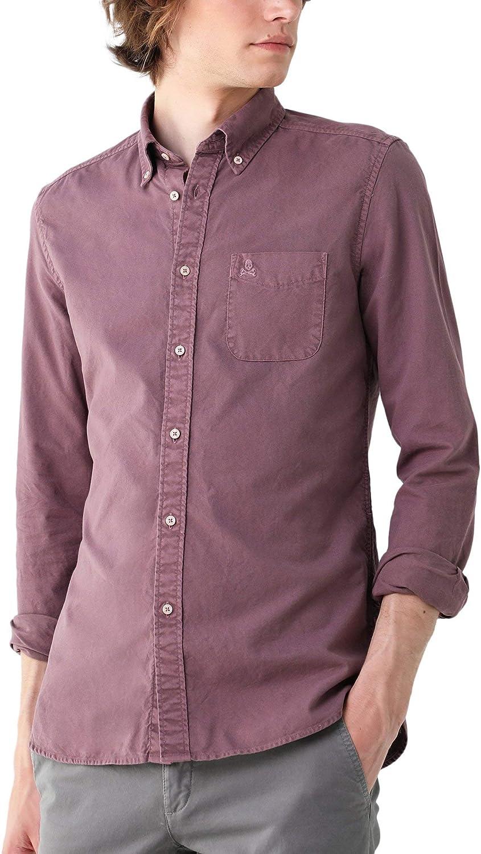 Scalpers Camisa Garment Dye Botones - Burgundy / 42: Amazon.es: Ropa y accesorios