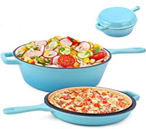 Suteck Enameled 2-In-1 Cast Iron Multi-Cooker – Heavy Duty 3.2 Quart Skillet and Lid Set, Versatile Healthy Design, Non-Stick Kitchen Cookware, Use As Dutch Oven Frying Pan (Green)