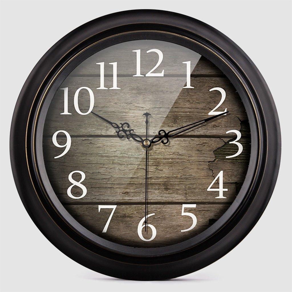 掛け時計 ウォールクロックレトロサイレントウッドグレインリビングルームウォールチャートホームインテリアウォール円形の時計ストーンベッドルーム Rollsnownow (色 : B, サイズ さいず : 14 inches) B07BMMGYV5 14 inches|B B 14 inches