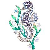 EVER FAITH® Cristal Autrichien Email Hippocampe Goémon Broche Animale
