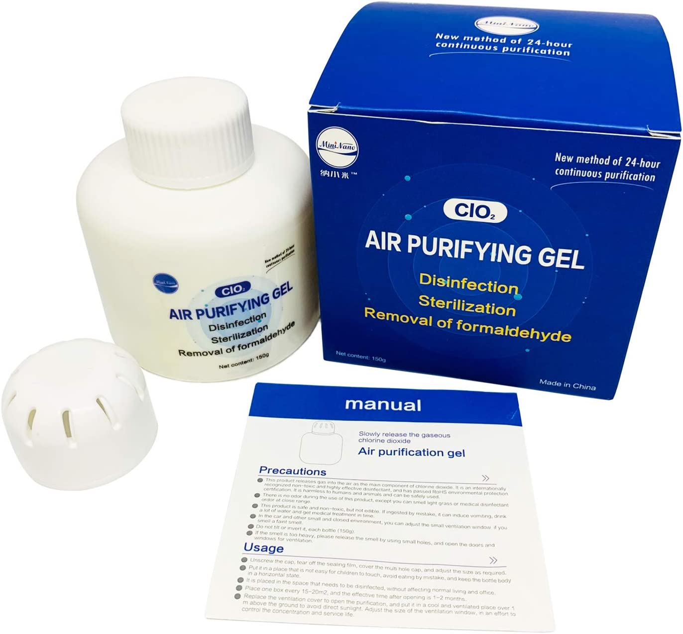Air Purifying Gel,Air Purifier & Odor Eliminator, Eliminates Odors at The Source with ClO2 Formula, Best Odor Eliminators for Home Office Car