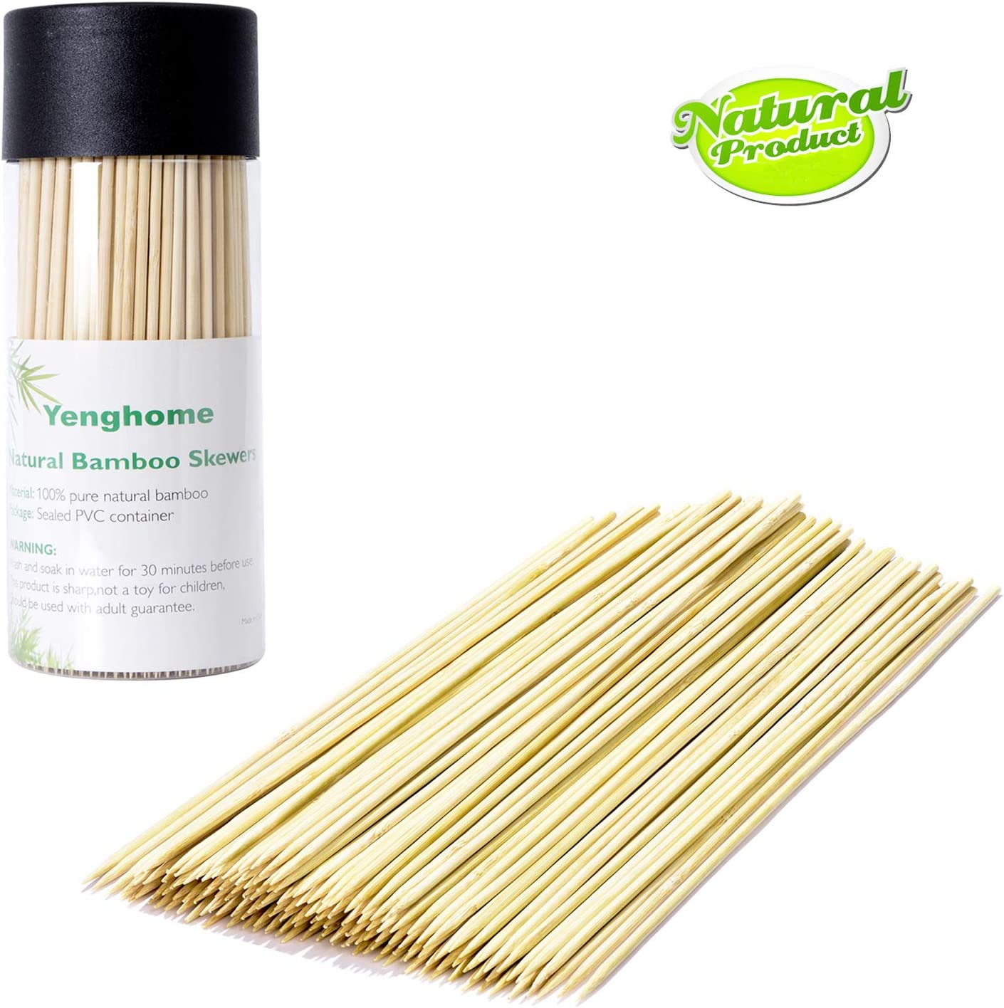 YengHome Natural Bamboo Skewers for Barbecue,BBQ, Shish Kabob, Grill, Fruit, Hot Dog,Chocolate Fountain, Food, Size 8 inch(300 PCS)