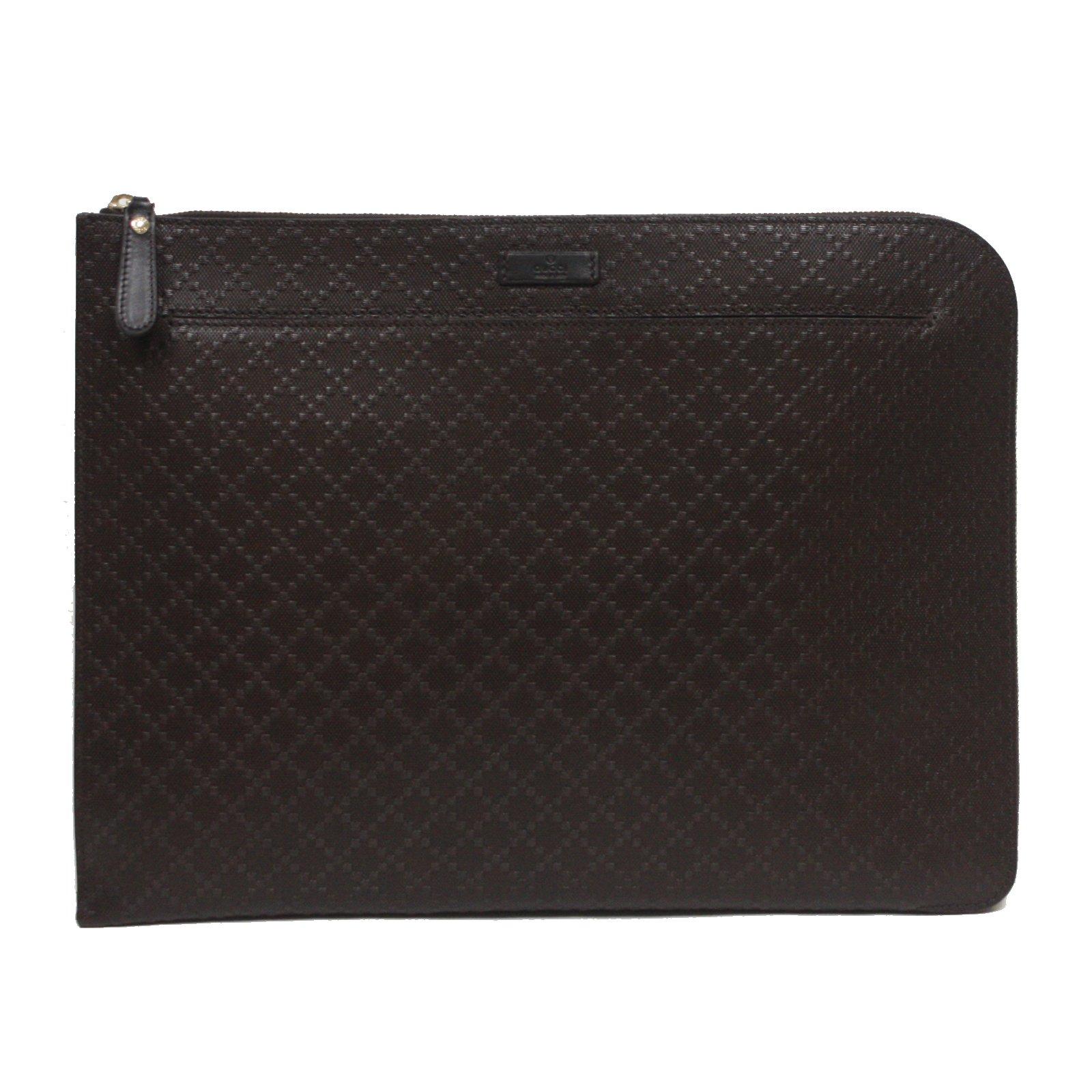 Gucci Diamante Leather Zip Portfolio Briefcase Bag 368564 2044 Brown