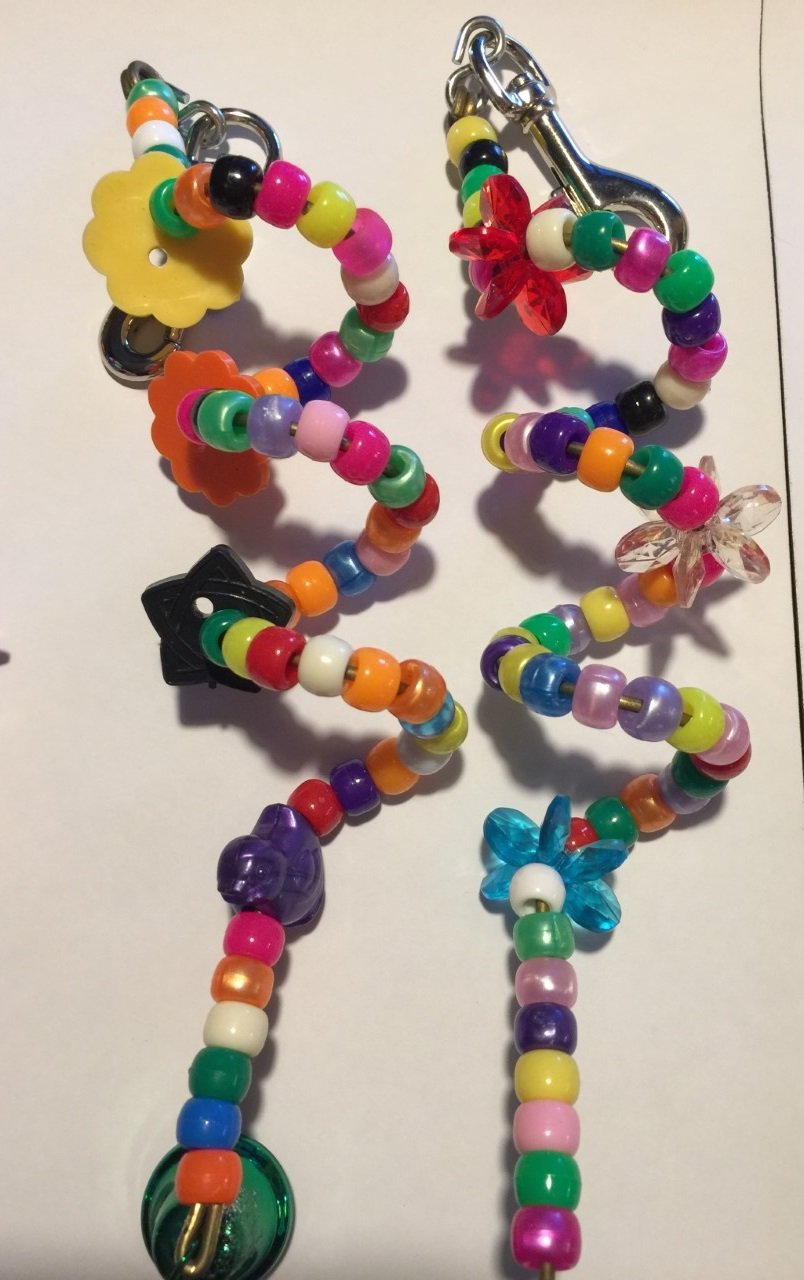 2 PACK- JellyBeadZ Brand Parrot MILLET HOLDER / SPIRAL TOY - 8 Inch - Pony Beads, Bells, and Spiral Brass Wire by JELLY BEADZ