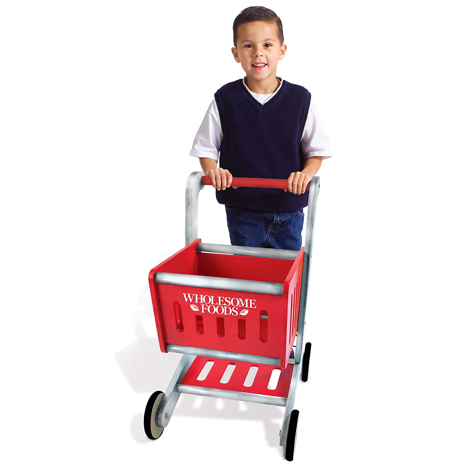 Imagination Generation Wholesome Foods Shopping Cart | Classic Wooden Push-Along Grocery Buggy Kids Toy | Includes Moving Wheels and Bottom Rack | Holds Pretend Play Food and Baby Dolls