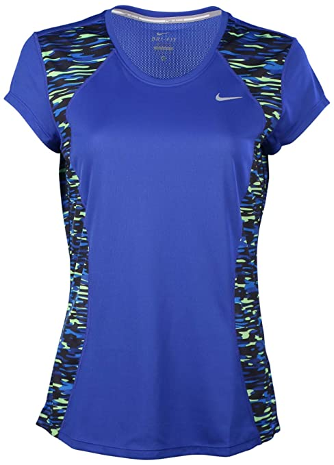 a2856f783 Image Unavailable. Image not available for. Color: Nike Womens Dri-Fit  Print Racer Running Shirt-Game ...