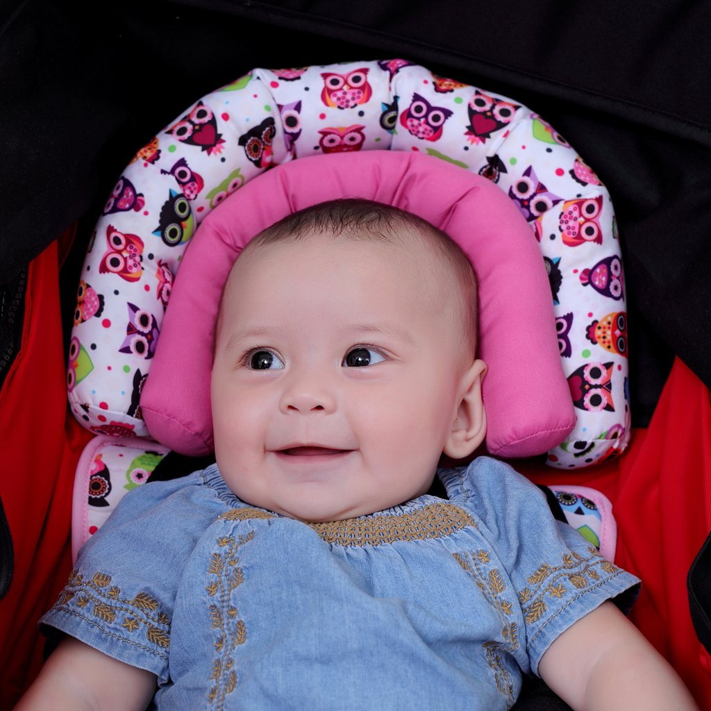 Infant Head Support for Car Seat, KAKIBLIN Baby Soft Neck Support Pillow, Pink by KAKIBLIN (Image #2)