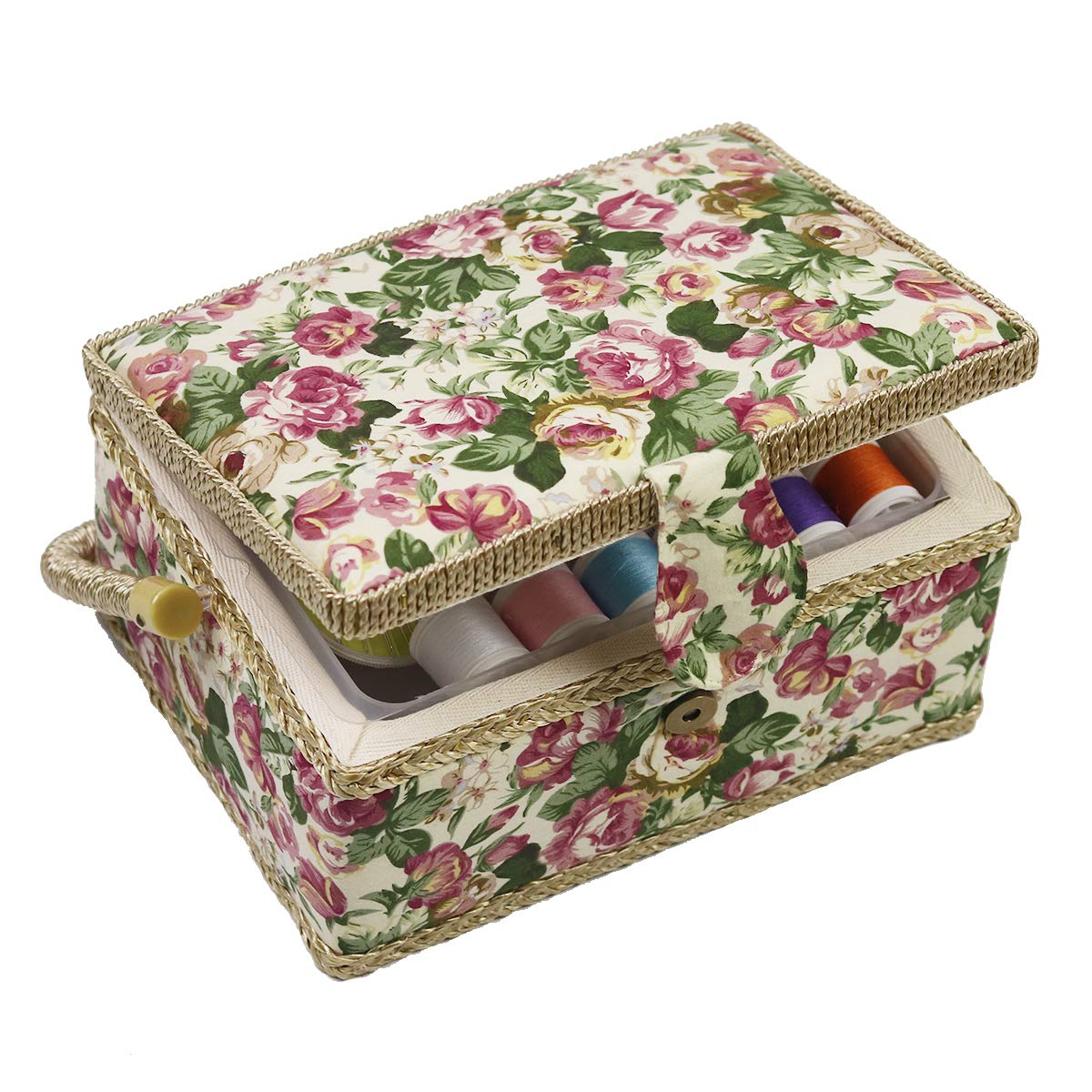 D& D Sewing Basket with Sewing Kit Accessories, Medium, Green Flower, 13400-708 DS1021