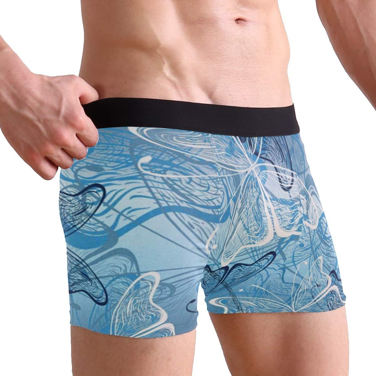 CATSDER Butterflies Blue Boxer Briefs Mens Underwear Pack Seamless Comfort Soft