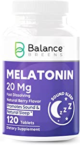 Natural Sleep-Aid Extra-Strength Melatonin 20mg - 120 Vegan Natural Berry Flavor Tablets - Fast-Dissolve, Non-Habit Forming, Sleep Support - Promotes Natural Sleep - Non-GMO, Gluten Free Supplement