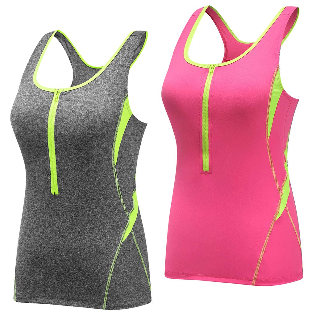 e5fc02007f9e1 Wantdo Women s Padded Racerback Support Lifestyle Yoga Built-up Wicking  Sweat Activewear Tank Top at Amazon Women s Clothing store