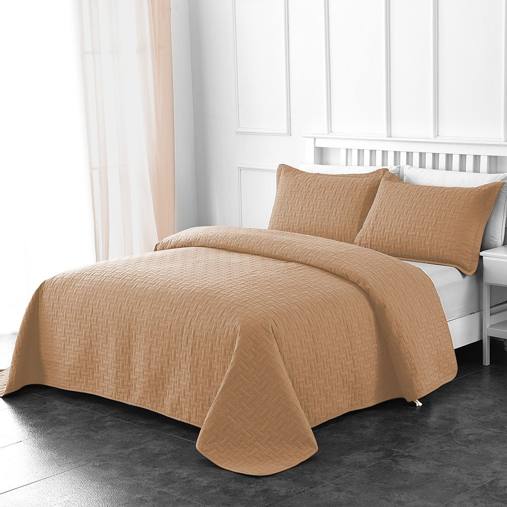 Comfy Basics Prime Bedding Manchester 3-Piece Oversized Quilted Bedspread Coverlet Set Mocha, Queen