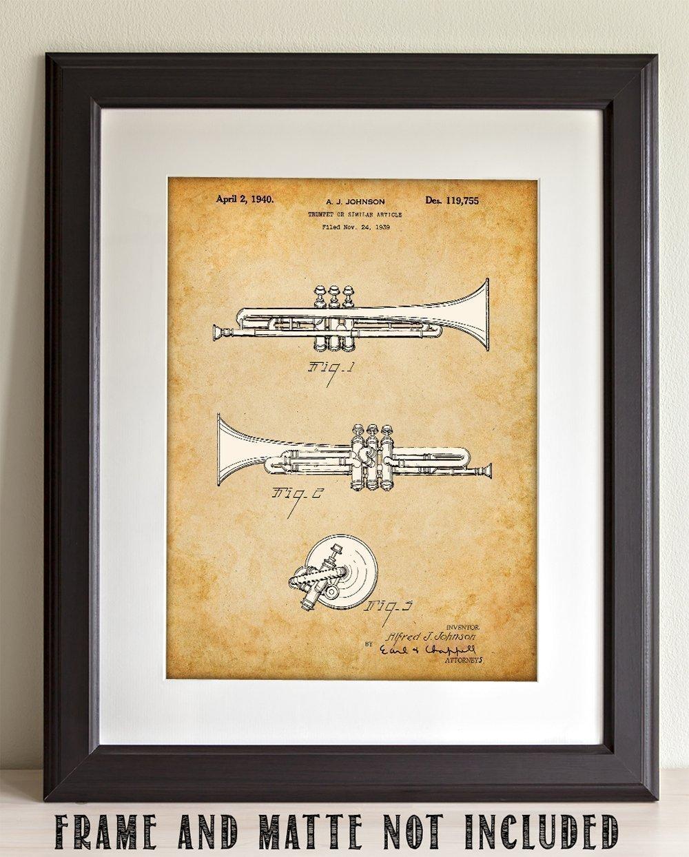 Amazon.com: Trumpet Art - 11x14 Unframed Patent Print - Great Gift ...