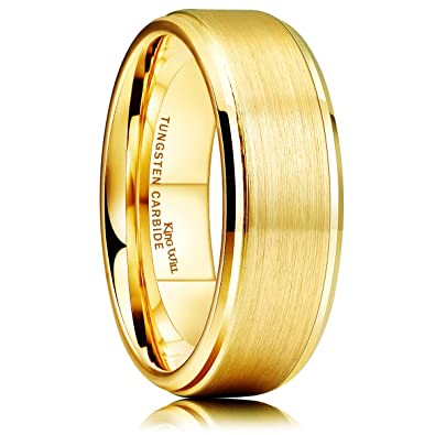336d484bb3102 King Will Glory Womens Mens 8mm Matte Brushed Tungsten Carbide Ring 14K  Yellow Gold Wedding Band Comfort Fit