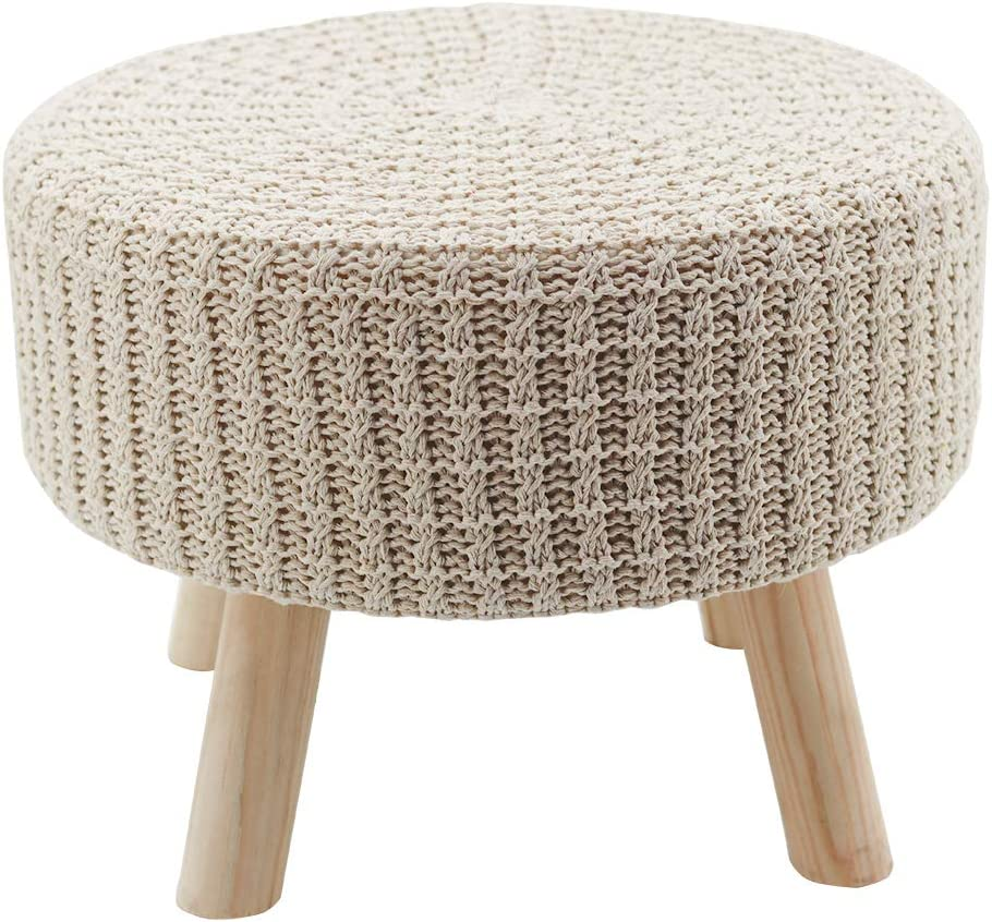 Parisloft Cotton Hand Knitted Multipurpose Vanity Seat,Footrest Ottoman Stool,Modern Makeup Dressing Chair