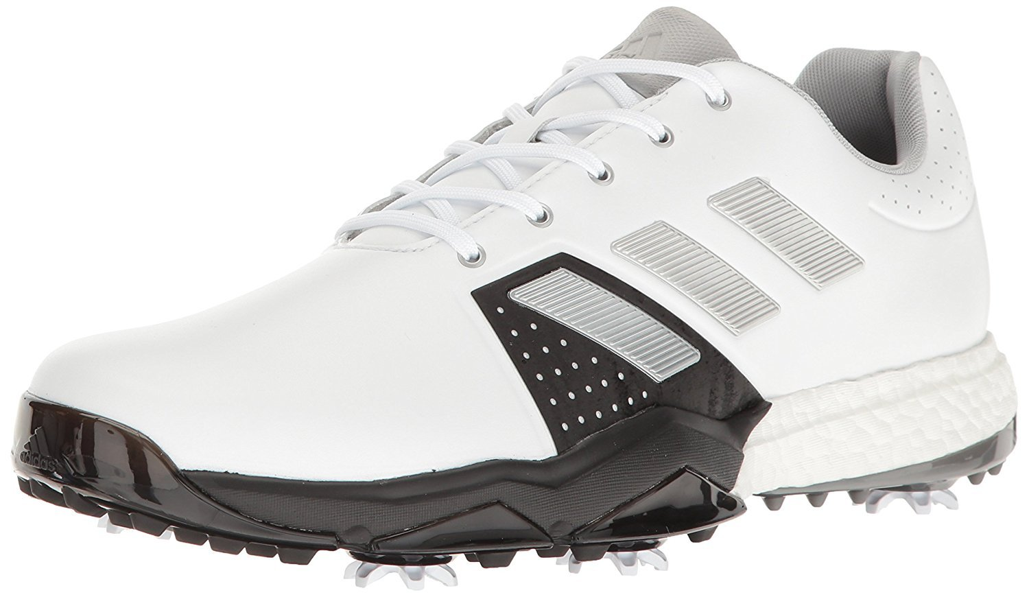 adidas Men's Adipower Boost 3 Golf Shoe, White/Silver Metallic/Black, 10.5 M US by adidas