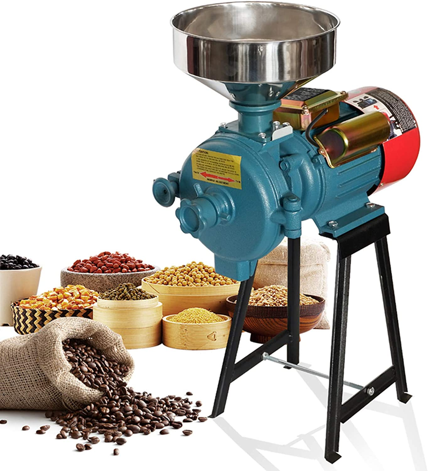 Electric Grain Mill, Mill Grinder Heavy Duty 110V Commercial Grain Grinder Machine Feed Grain Mills Grain Dry Feed Flour Mills Cereals Grinder Rice Corn Grain Coffee Wheat with Funnel (3000W)(Dry Grinder)