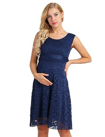5f7dc040f7e IEFIEL Robe Grossesse et maternité Femme Enceinte Robe de Cocktail Soirée  avec Ceinture Ruban Mère Femme