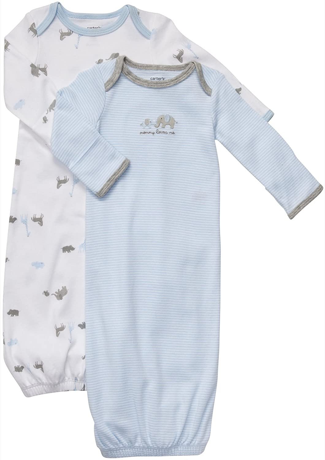 Amazon.com: Carter\'s Baby Boy\'s 2-Pack Gowns - Elephants - Newborn: Baby