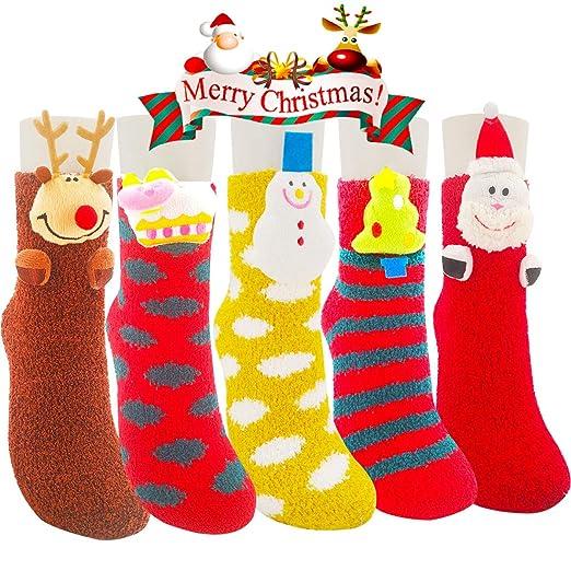 cost charm 2018 shoes buy online Fuzzy Socks - 5 Pack Christmas Socks Fuzzy Sock for Women Girls 3D Cute  Animals Cozy Slipper Socks