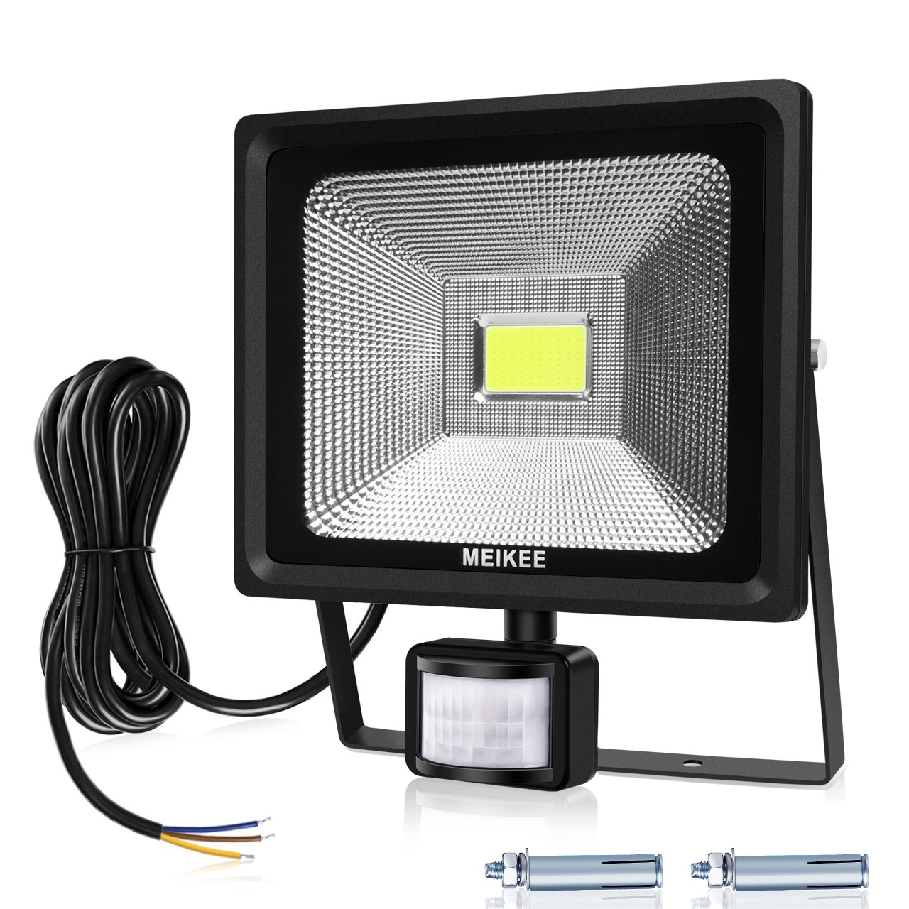 MEIKEE 30W Security Lights with Motion Sensor, Waterproof IP66 LED Floodlights, LED Sensor Outdoor Light, High Output 3000 Lumen 75W HPS Lights Equivalent Replaced, Super Bright PIR Flood light, Ideal for Garden, Car Park, Hotel and Yard, Daylight White [