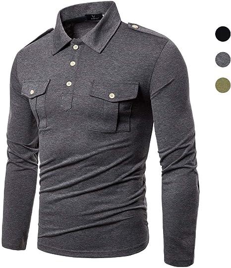 X&Armanis Otoño Nueva Camisa para Hombre, Camisa con Bolsillo de charretera en Mezcla de algodón Camisa de Solapa de Estilo Militar (Negro/Verde Militar/Gris): Amazon.es: Deportes y aire libre