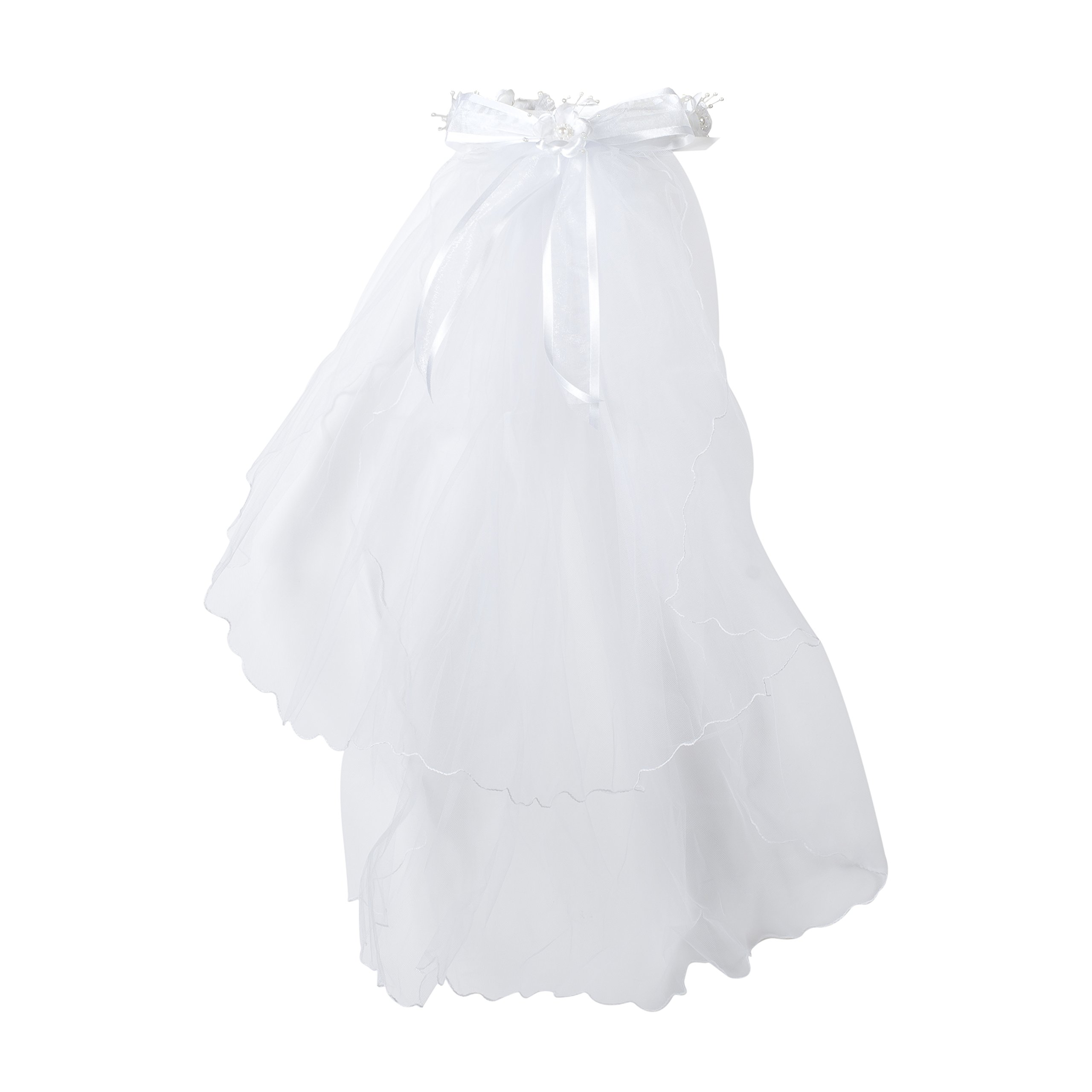 First Holy Communion White Tulle Veil with Pearl Crystal Flower Crown and Bow